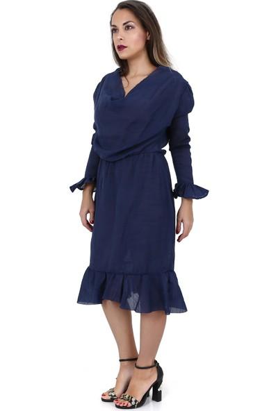 Tantrona Ofis Şıklığında Tarz Uzun Kol Fırfırlı Moderate Elbise