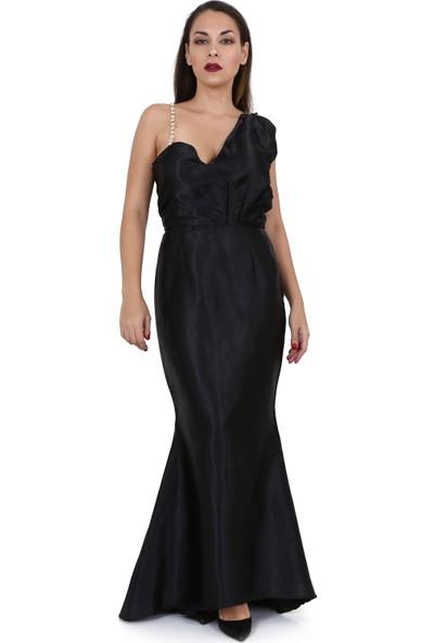 Tantrona Siyah Saten Swarovski Taşlı Uzun Abiye Tasarım Elbise