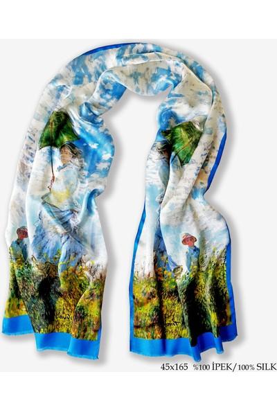 Galiga İpek Fular - Monet- Şemsiyeli Kadın
