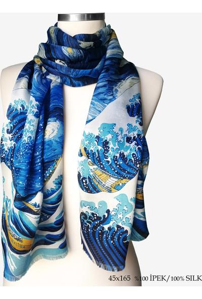 Galiga İpek Fular Starry Waves