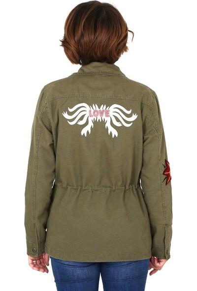 Tasarım Atölyesi Kadın Nakışlı Haki Ceket