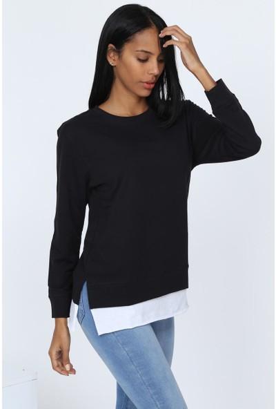 Deppoist Kadın Beyaz Garnili Sweatshirt