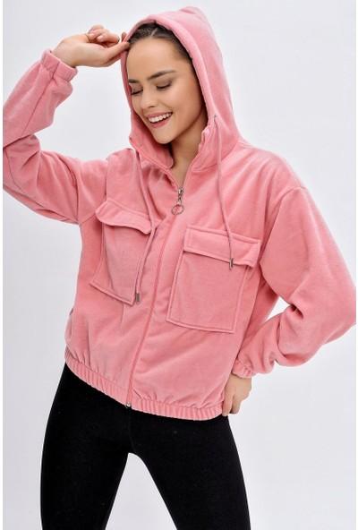 Deppoist Kadın Çift Cepli Polar Sweatshirt