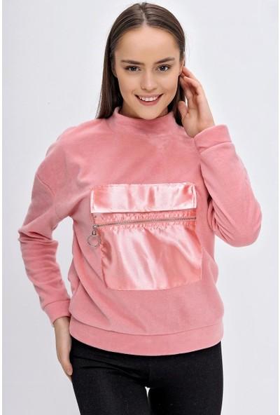 Deppoist Kadın Kangru Cep Polar Sweatshirt