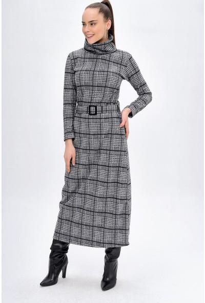 Deppoist Kadın Boğazlı Yaka Kaşe Elbise