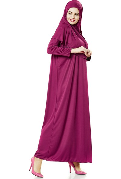 İhvan 5015 Tek Parça Fuşya Namaz Elbisesi Battal Beden