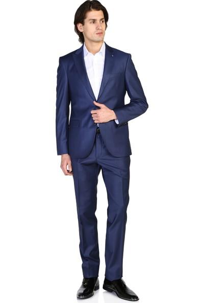Morven Slim Fit Düz Takım Elbise Mavi