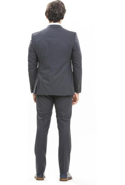 Morven Sicilia Slim Fit Yelekli Takım Elbise Füme