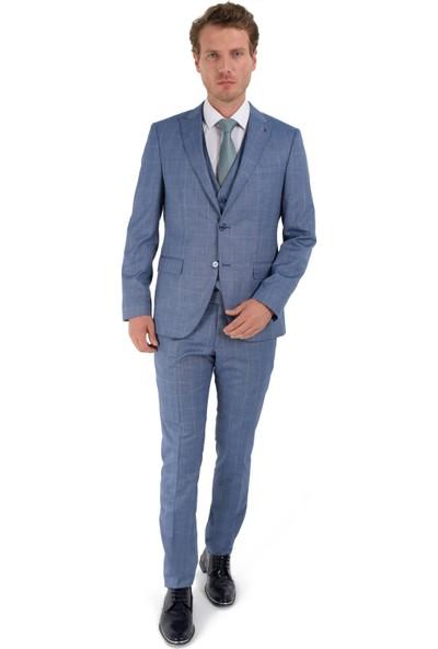 Morven Classis Slim Fit Yelekli Takım Elbise Mavi