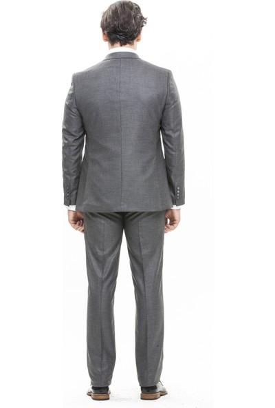 Morven Akasya Slim Fit Kombinli Takım Elbise Füme