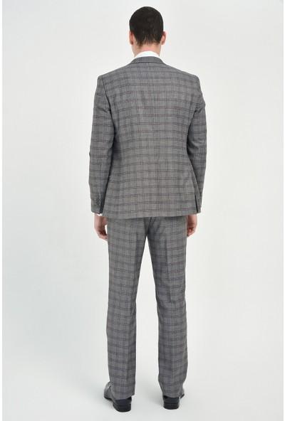 Morven Caribo Slim Fit Yelekli Takım Elbise Füme