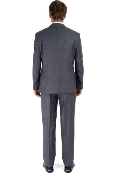 Morven Regular Fit Ekose Takım Elbise Füme