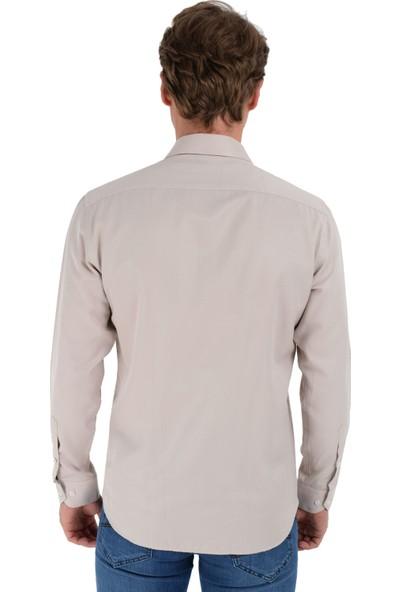 Morven Saldera Slim Fit Uzun Kol Gömlek Bej
