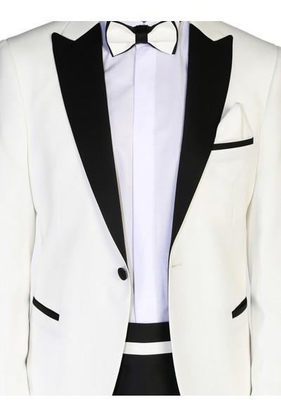 Morven Viyana Slim Fit Damatlık Takım Elbise Kremrengi