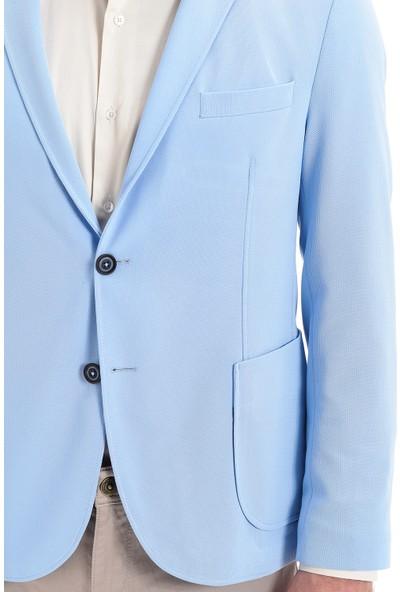 Morven Slim Fit Jakarlı Örme Ceket Acık Mavi
