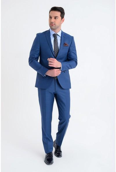 Morven Mono Slim Fit Takım Elbise Saks Mavisi