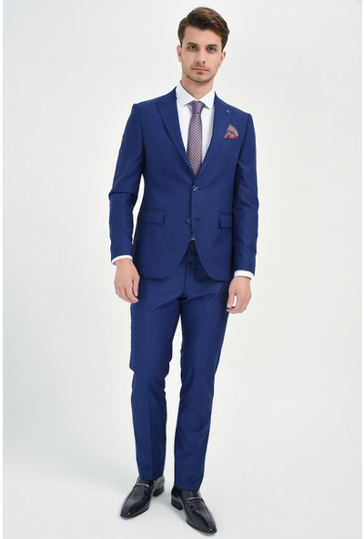 Morven Basic Slim Fit Takım Elbise Saks Mavisi