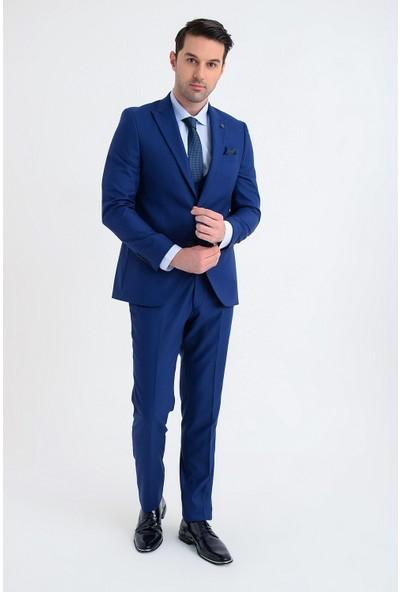 Morven Basic Slim Fit Yelekli Takım Elbise Saks Mavisi