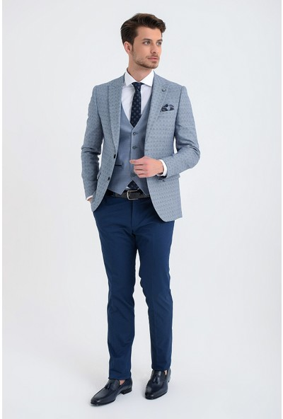 Morven Label Slim Fit Kombinli Takım Elbise Lacivert