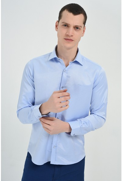 Morven Saldera Slim Fit Uzun Kollu Gömlek Buz Mavisi