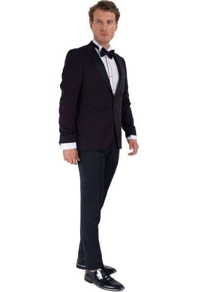 Morven Broadway Slim Fit Yelkli Damatlık Takım Elbise Lacivert