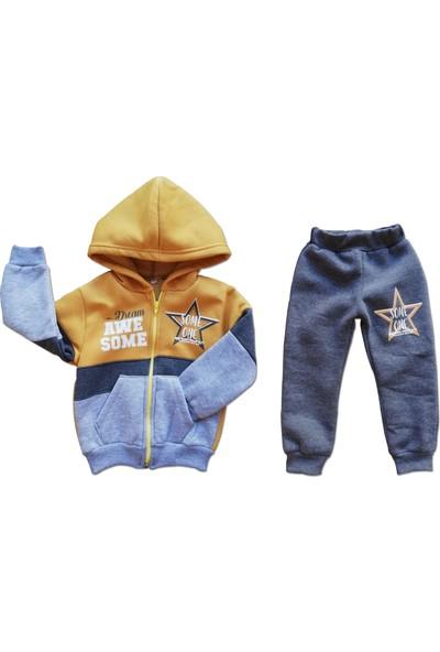 Trestar Erkek Çocuk 2'li Eşofman Takımı Sarı Kalın Kışlık Pamuklu Kumaş