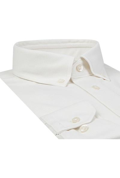 Ds Damat Slim Fit Beyaz Erkek Gömlek