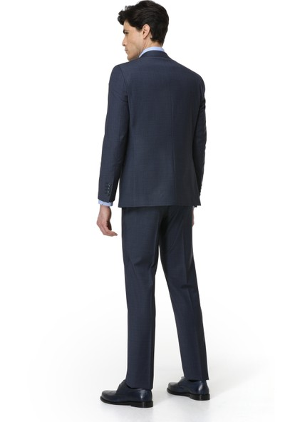 Ds Damat Slim Fit Lacivert Yelekli Erkek Takım Elbise