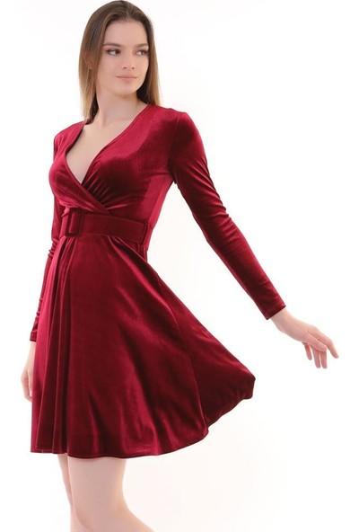 Machek Kruvaze Yaka Kadife Elbise