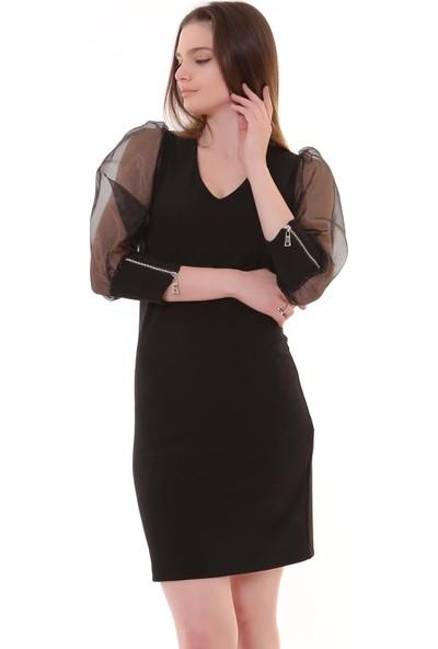 Machek Fermuar Kol Det Elbise 20-5486