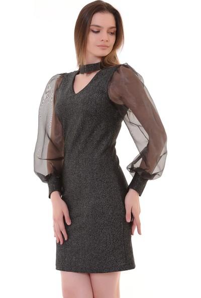 Machek Yaka Bantlı Kadın Elbise