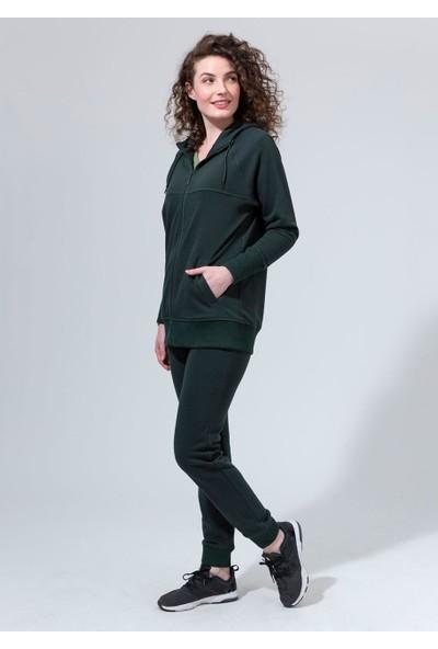 Dagi Kadın 3 İp. Önden Fermurlı Kapşonlu Tek Üst Yeşil