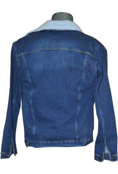 Goong Zerin Mavi İçi Kürklü Erkek Kot Ceket