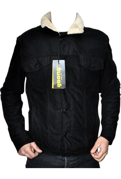 Goong Zerin Siyah Kadife İçi Kürklü Erkek Kot Ceket