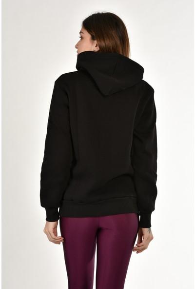 Dema Kadın Siyah Kapuşonlu Kanguru Cep Sweatshirt