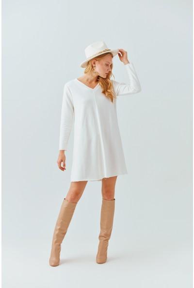 Cream&Rouge 19-2040 V Yaka Kadın Elbise