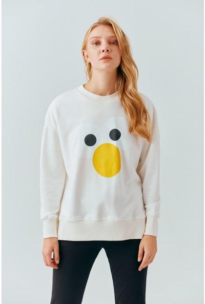 Cream&Rouge 19-2046 Sweatshirt Yanları Yırtmaçlı Baskılı