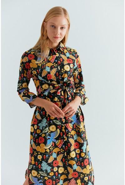 Cream&Rouge 19-2096 Elbise Belden Kuşaklı Desenli