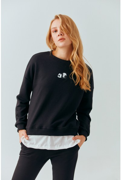 Cream&Rouge 19-2129 Sweatshirt Önü Panda Baskılı Eteği Garnili