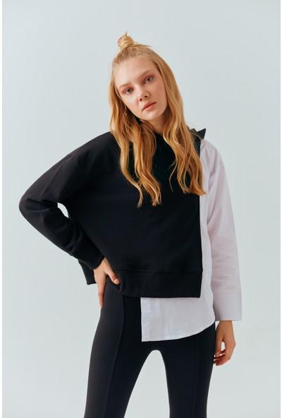 Cream&Rouge 19-2133 Sweatshirt Kapşonlu İçinde Yarı Poplin Gömlekli