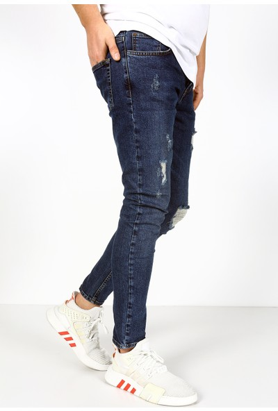 Trend Setter Mavi Erkek Yırtık Jeans Slim Fit