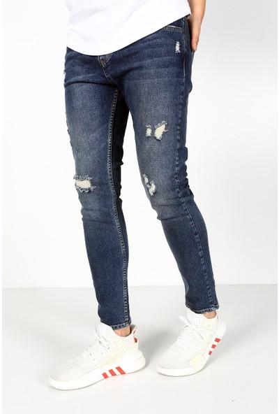 Trend Setter Erkek Mavi Yırtık Jeans Slim Fit