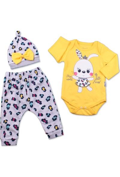 Kız Bebek Badili Takım 3'lü Tavşan Baskılı Takım 3-6 Ay