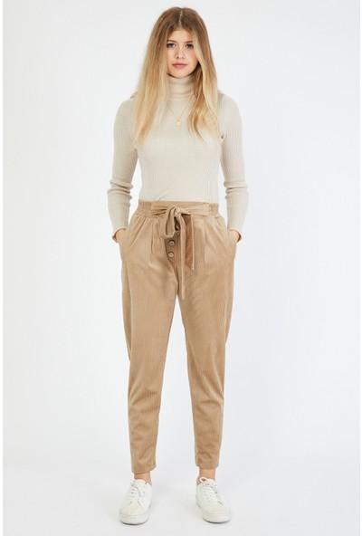 Bazza Kadın Bej Kadife Pantolon