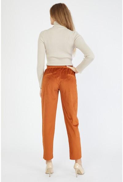 Bazza Kadın Hardal Kadife Pantolon