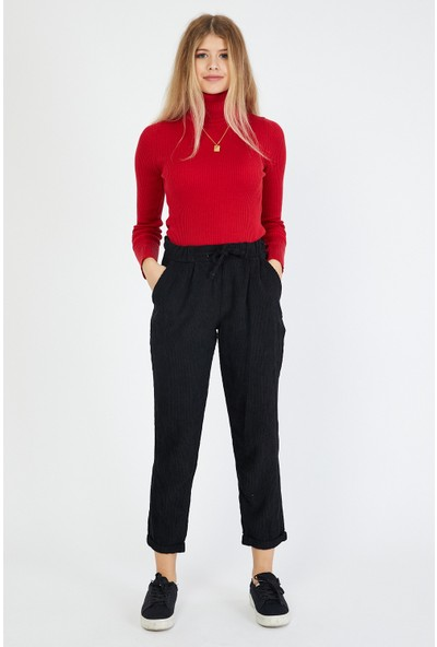 Bazza Kadın Siyah Kadife Pantolon