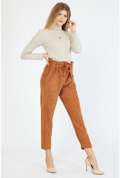 Bazza Kadın Hardal Cepli Kadife Pantolon