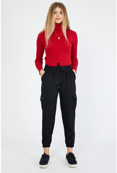 Bazza Kadın Siyah Kargo Pantolon