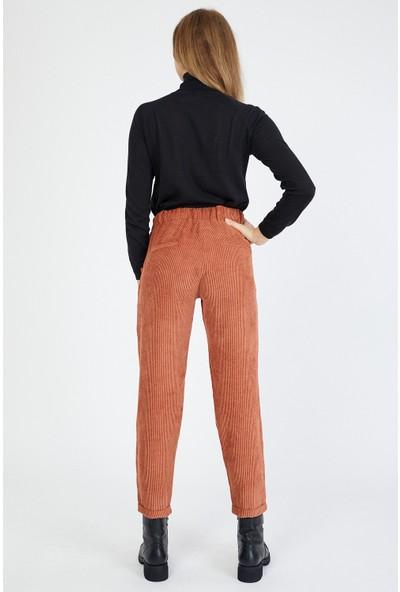 Bazza Kadın Taba Kadife Pantolon