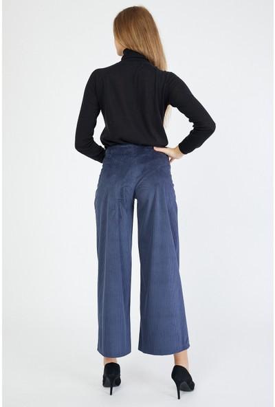 Bazza Kadın Lacivert Bol Paça Kadife Pantolon